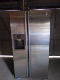 LG Fridge Freezer excellent condition Brushed Chrome exterior white interior 90 mm x 176 mm x 70 mm