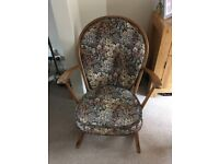 Ercol antique original tapestry upholstered rocking chair in original unrestored condition