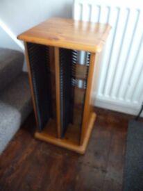 CD/ DVD STORAGE unit, rotates, solid pine furniture, £10