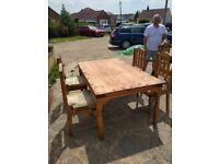 Mexican pine table and 5 chairs