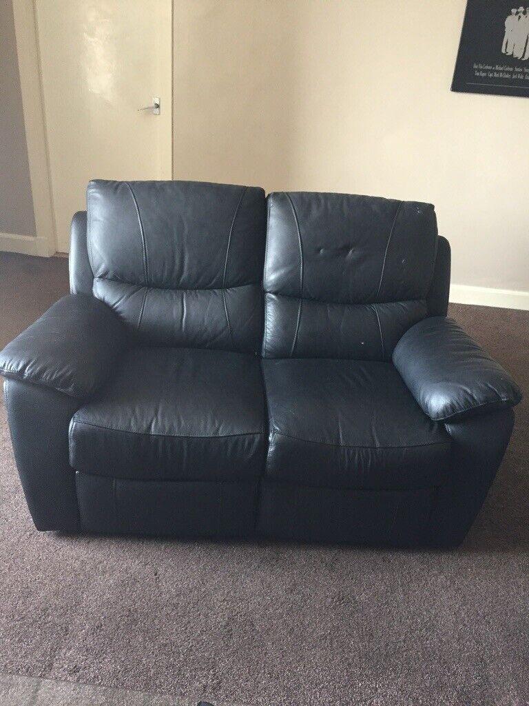 2x Black Leather Reclining Sofas