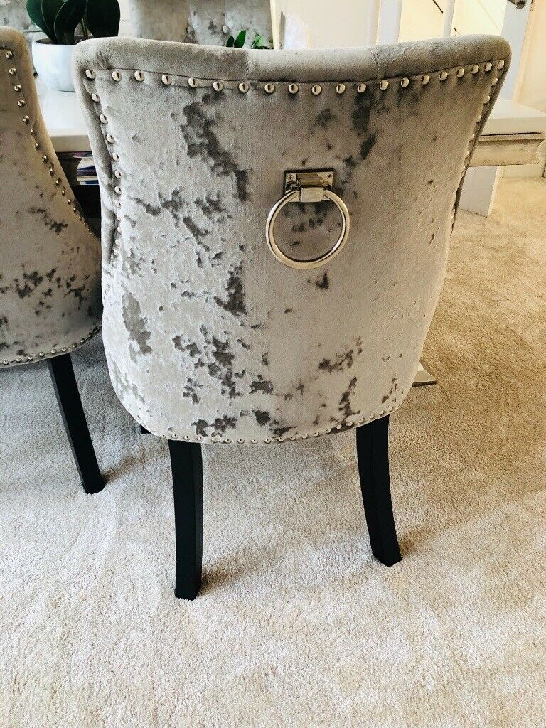 Strange Crushed Velvet Grey Dining Chairs X 4 In Middlesbrough North Yorkshire Gumtree Gamerscity Chair Design For Home Gamerscityorg