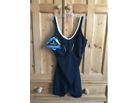 BNWT Size 38/UK 12 Aqua Sphere Scarlett Legsuit Swimming Costume Black With White Trim - Brand New