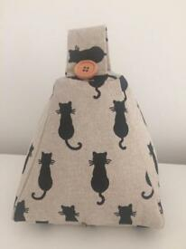 Lucky black cat linen/cotton door stop. Brand new