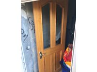 Wooden oak doors with glass and handles x6