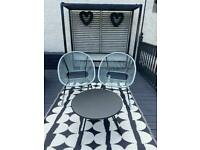 Garden furniture, chairs, table and large rug brand new