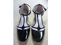 Next black leather low heel shoes - size 6
