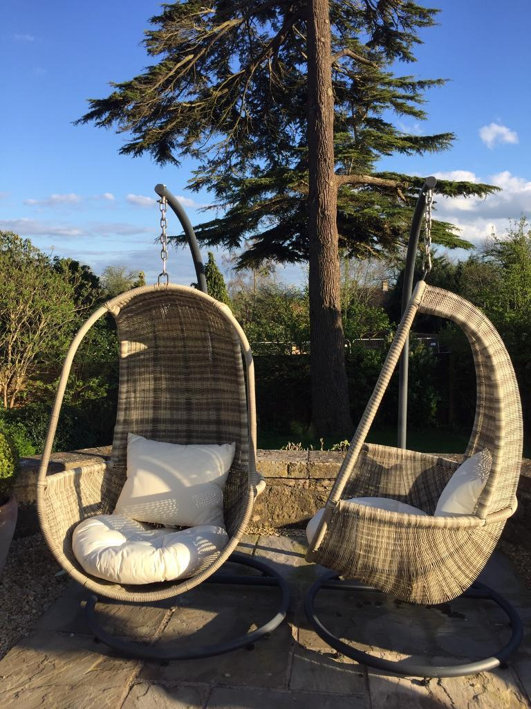 Pair Of Pod Hanging Garden Chairs Rattan 295 Cost Double