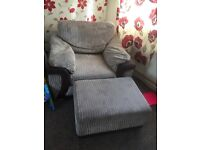 Corner sofa and chair with foot stool