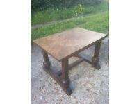 Hardwood pedestal table.