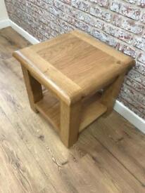 Round Edged open shelf oak lamp table