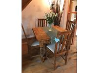 Antique Barley Twist Solid English Oak Draw Leaf Extending Table and 4 chairs