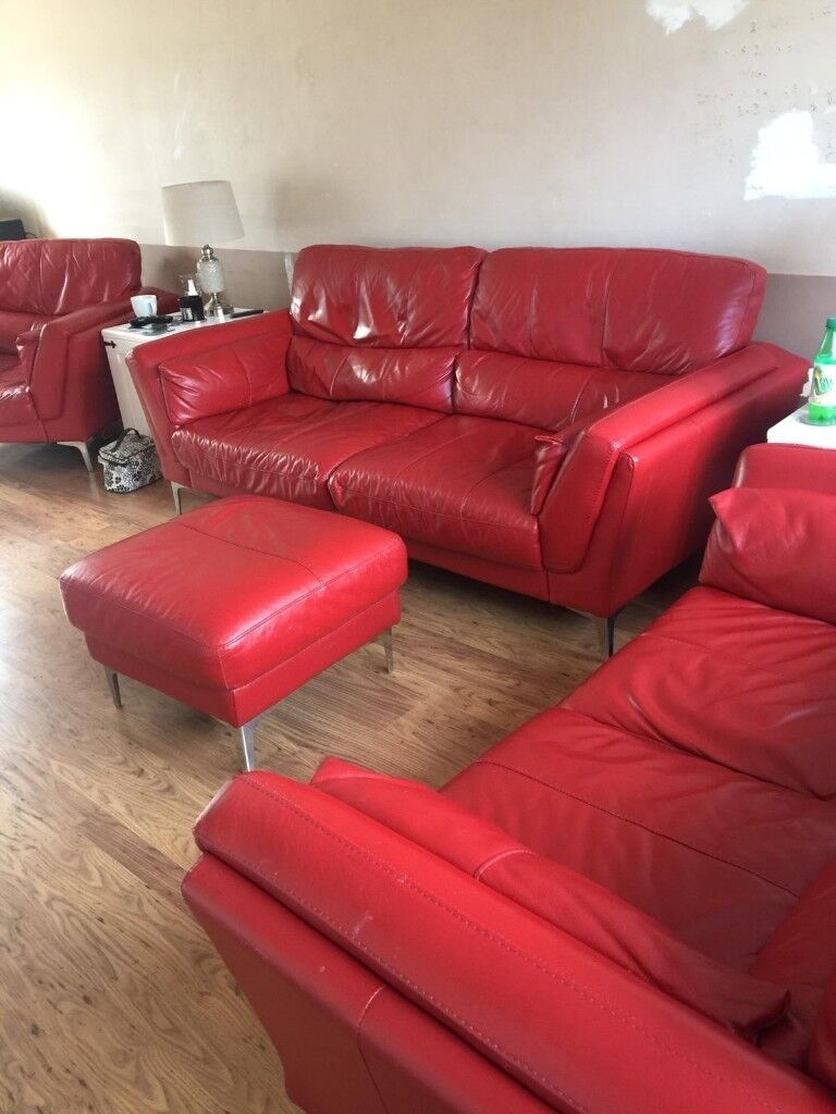 Red Leather Dfs Sofas And Footstool In Wickford Essex Gumtree