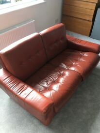 Danish Style Real Red leather two piece suite