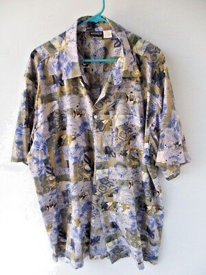 Remus Men's Casual Hawaiian Shirt Blue Tan Shades Size XX Large