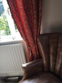 Curtains and 2 swags deep orange and gold brocade design cost £400