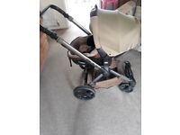 Well loved and used Mumm Matrix rear facing baby seat/carrycot pram.