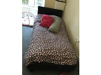 Black faux leather single bed & matress
