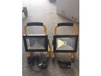 Pair of 10W LED Rechargeable Portable Work Site Garage Home Caravan Lights