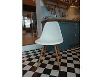 4 X White retro style chairs with wooden legs £30