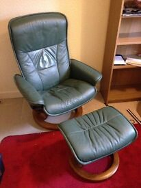 Ekornes Stressless Swivel Reclining Leather Chair and Footstall
