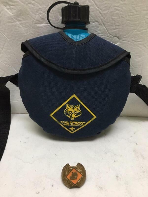 lot BSA Boy Cub Scouts wolf canteen & Neckerchief vtg Tiger slide clasp holder