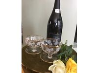 Pretty Champagne glasses / saucers. Set of 4. Sold with a magnum of finest Italian Brut Prosecco.