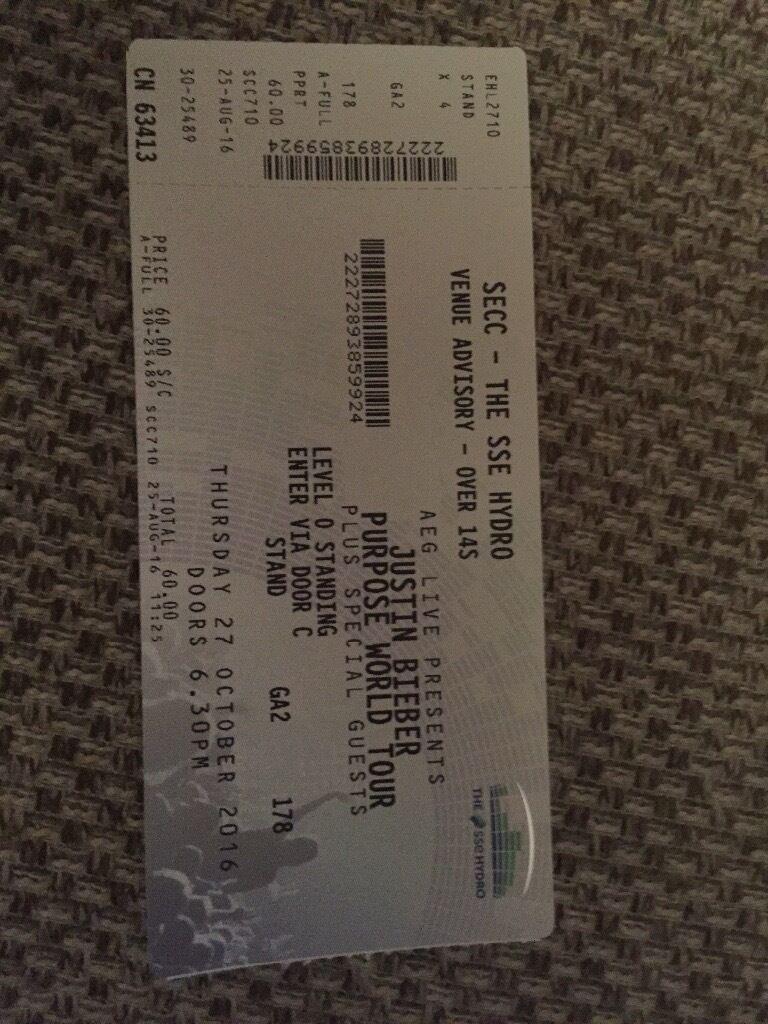Just bieber standing ticket Thursday 27th
