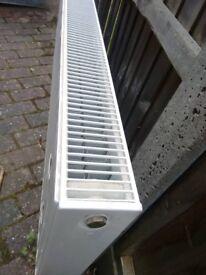 Three double panel radiators: 80cm, 120cm and 140cm x 60cm x 10cm. Also sell separately