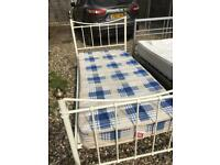 Single 3ft Cream Frame Bed and Mattress