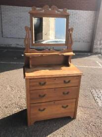 Pine chest of drawers with vanity mirror