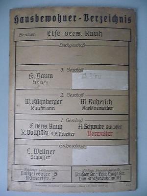 Schild Hausbewohner  Plauen Haselbrunn Vogtland ca.1930