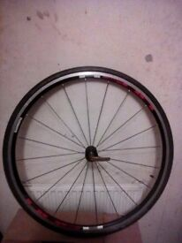 Shimano R500 front wheel + tyre 700c road race hybrid bike black radial spokes **Swap possible**