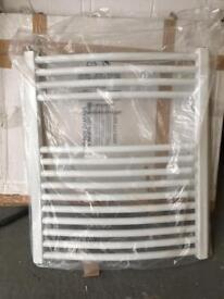 White bathroom heated towel warmer rail
