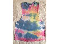 Men's Summer Vest Medium Day Glo Tie-Dye Festival Beach Wear