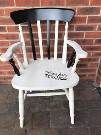 "Captains chair painted white/cream/black ""we're all mad here"" ideal feature chair"
