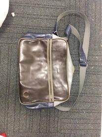 Fred berry blue, grey, brown leather shoulder bag