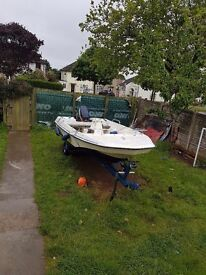 4m dory boat trailer and outboard