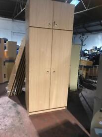 Double Door Wardrobe with Top Box - Flat Pack