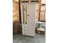 Nearly new White 3 piece Cottage Style Bedroom Furniture Suite Wardrobe and 2 Drawers