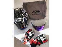 Arai Racing Helmet, Visor & Dainese Gloves