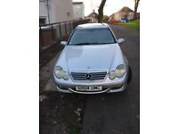 Silver Mercedes Cclass coupe petrol