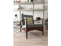 Mid Century Ib Kofod Larsen lounge chair 1960s 60s Danish Modern E Gomme Teak armchair