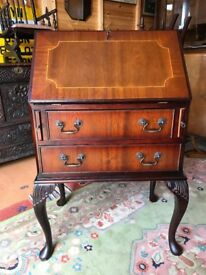 Mahogany Bureau Small Pull Down Front Writing Desk With Drawers - Delivery Available