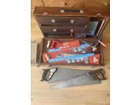 Carpenters Tool's & Solid Wood Tool Box - Vintage Job Lot