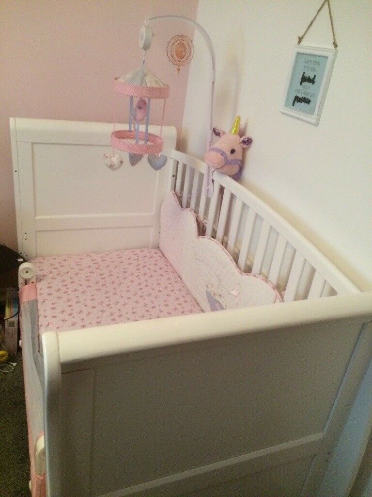 Sleigh cot/Day bed, 3 years old, hardly been used. White