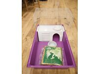 Guinea pig cage with free plastic bowl and hay