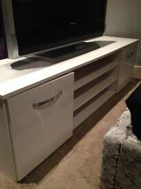"White gloss tv unit large fits 55""+"