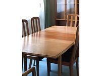Vintage Meredew Dining Table, 4 Chairs & 2 Carvers