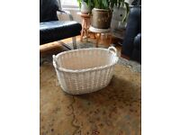 LARGE WHITE OVAL BASKET WICKER RATTAN WEAVE HANDMADE STORAGE TOYS LINEN PAPERS KNITTING